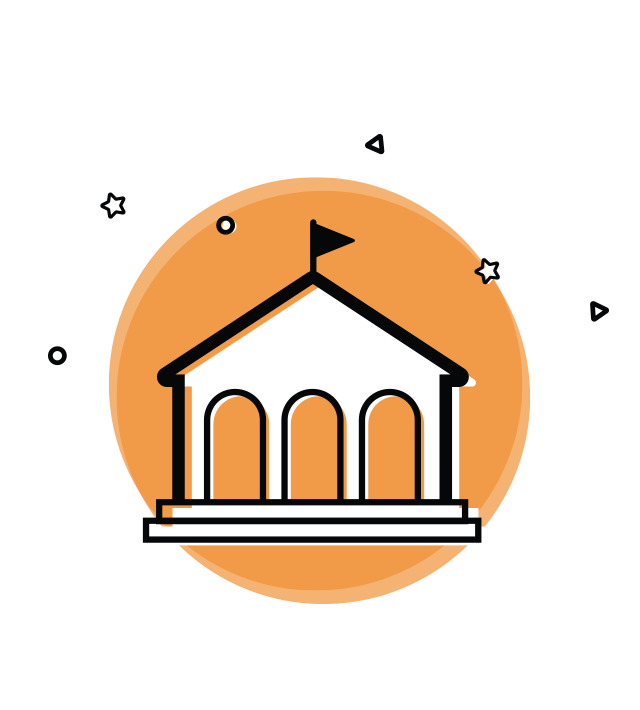 The Survey Magnet is used by universities. This image shows an orange circle with a line icon drawn over top of it of a university building with a flag on top.