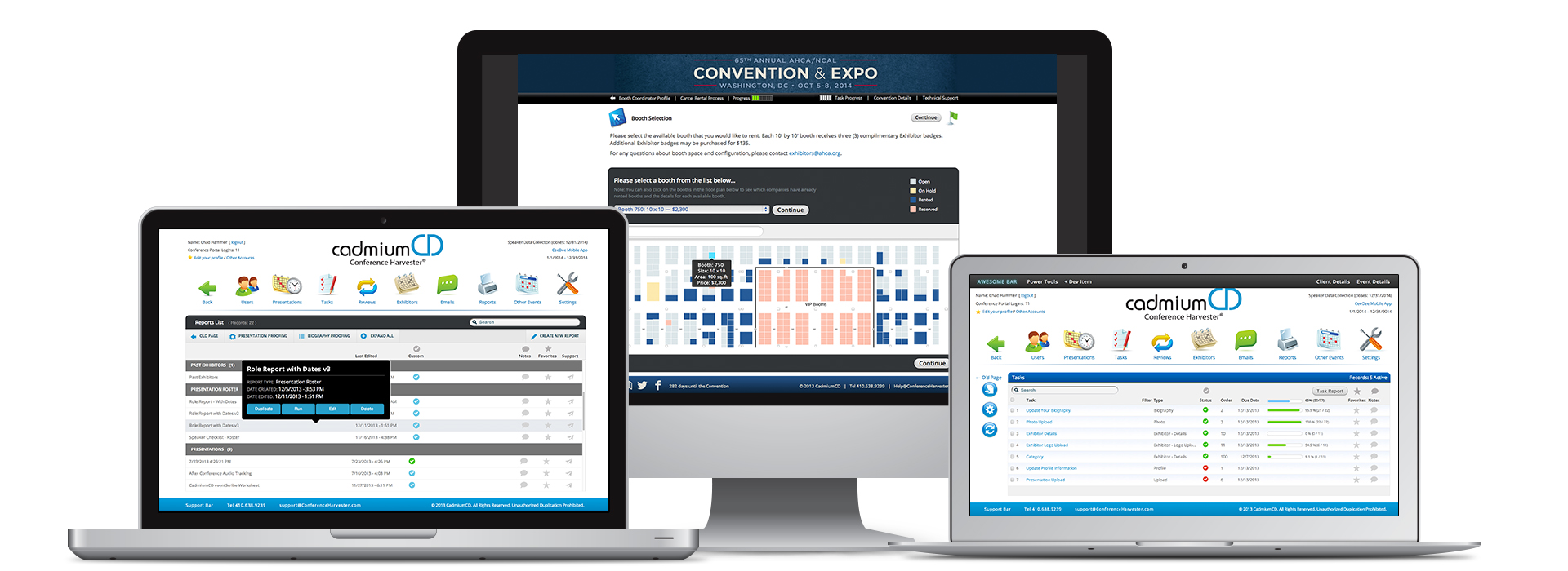 The CadmiumCD event management and content delivery platform can be used on any device. This image shows a Mac and two laptops display various eventScribe products.