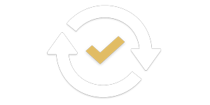 Integration is crucial. Being able to transfer data to other CadmiumCD products and your third-party vendors ensures success. This image is an icon with a circle arrow around a checkmark.