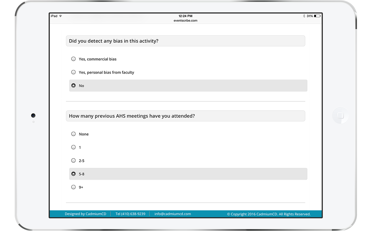 The Survey Magnet allows for multiple question types. This image shows an iPad with an example of multiple choice questions. The design is clean, mobile responsive, and user friendly.