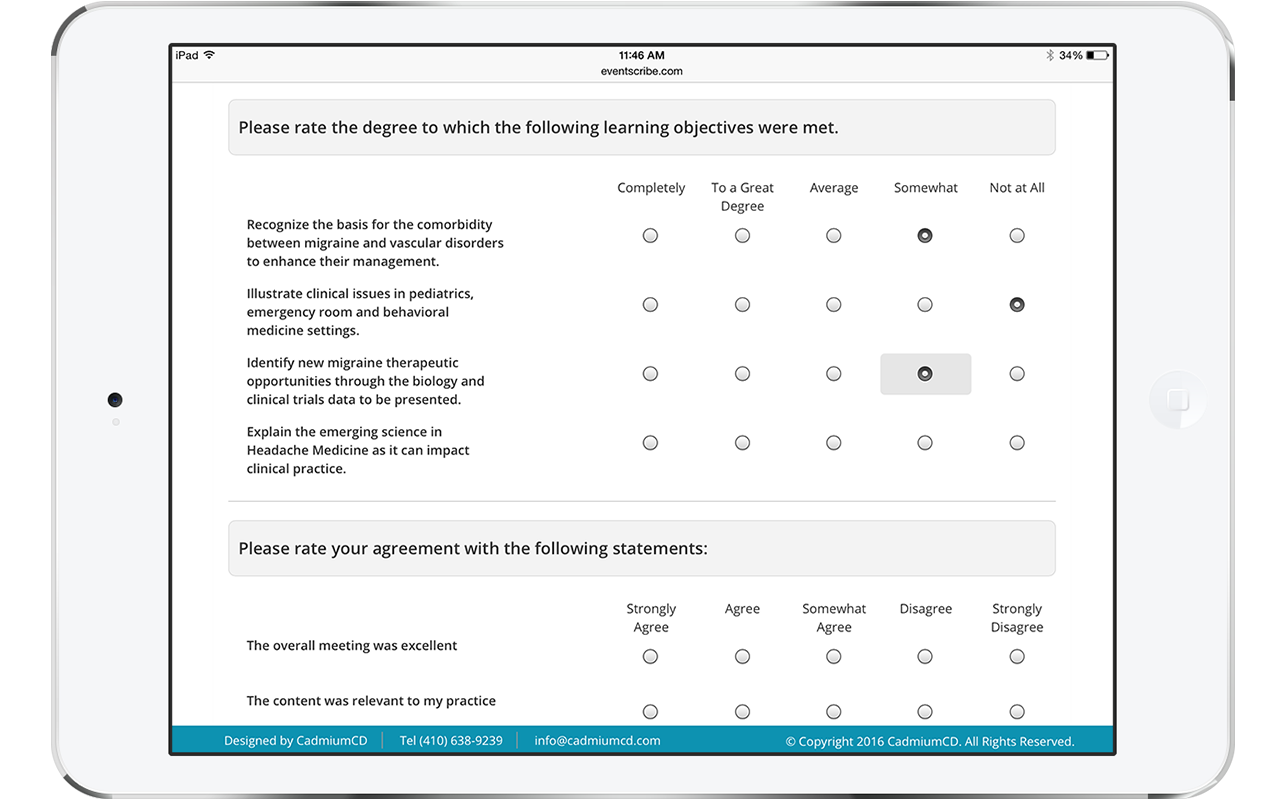 The Survey Magnet allows for multiple question types. This image shows an iPad with an example of Likert Scale questions. The design is clean, mobile responsive, and user friendly.